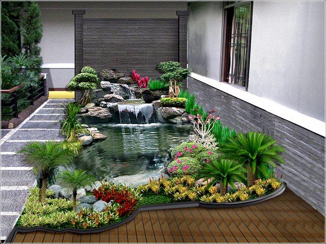 Air mancur taman belakang